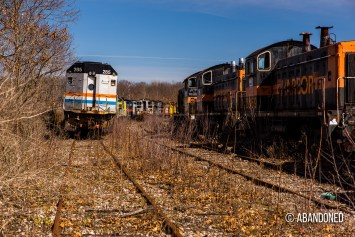 An abandoned Amtrak 387 awaits further scrapping. It is a former EMD F40PHR, an EMD F40PH with EMD SDP40F components.