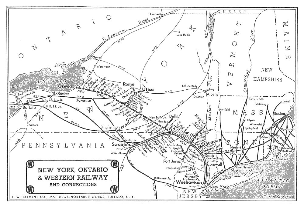 New York Ontario and Western Railway Map