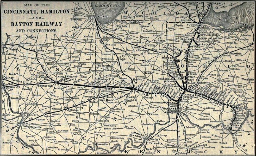 Cincinnati, Hamilton & Dayton Railroad Map