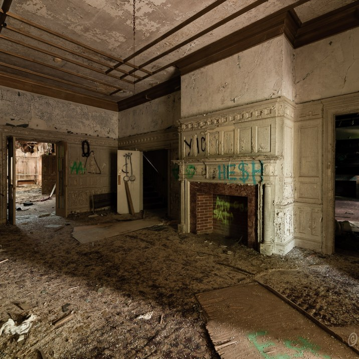 Uplands Deteriorated Interior Room with Fireplace