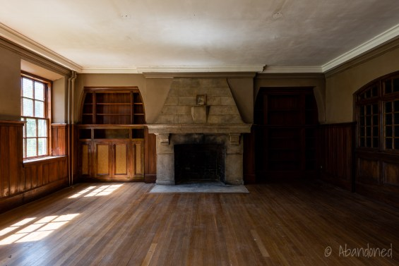 Medfield State Hospital Male Employees' Home Library with Fireplace