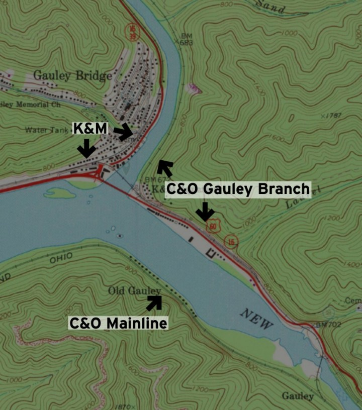 Map of the C&O Gauley Branch in the vicinity of Gauley Bridge