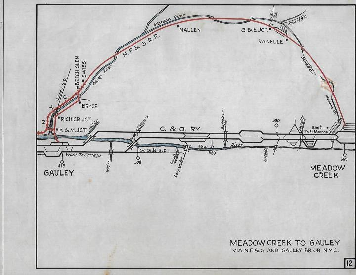 Meadow Creek to Gauley map
