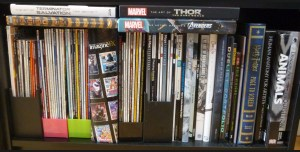 1 of 3 Shelves of art books and magazines.