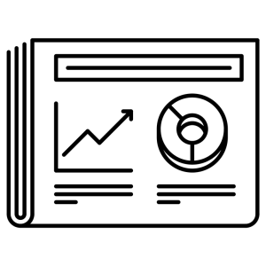 Business Report Icon. Graph and pie chart