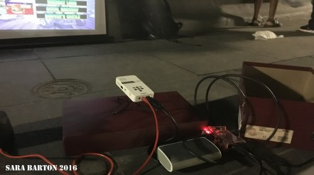 The projector, raspberry pi and cell-phone battery