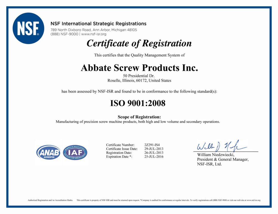 ISO 9001:2008 Registration