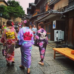 Women dressed up for Daimonji, a celebration in August honoring one's ancestors