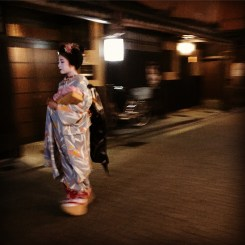 Geisha walking through Gion, Kyoto's historic district