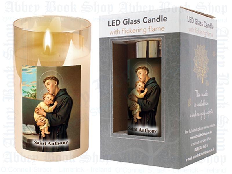 LED Glass Candle – Saint Anthony
