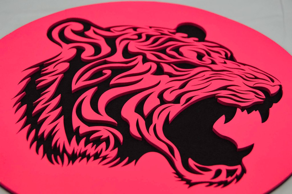 Laser Cut Pink Black Tiger Face