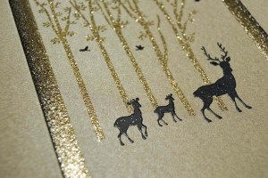 deer forest blended glitter card