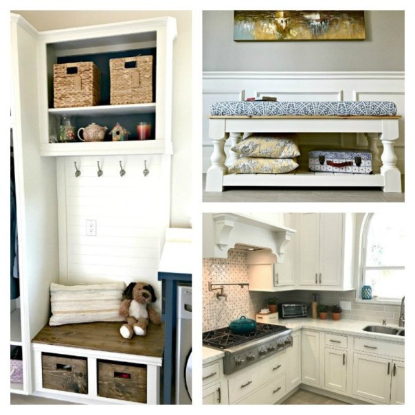 Abbotts At Home: Bloggers Favorite Blog Posts DIY Mudroom Bench, DIY Farmhouse Bench, and my White Kitchen Reveal, August 2017