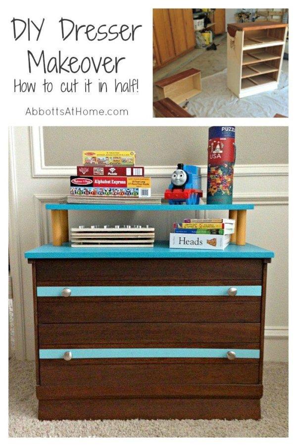 Cut an old dresser in half to create your new storage. #dresser #toystorage # furnituremakeover