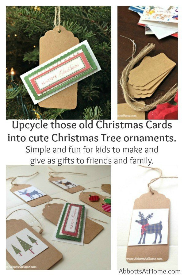 Upcycle those old Christmas Cards into cute Christmas Tree ornaments. Simple and fun for kids to make and give as gifts to friends and family.