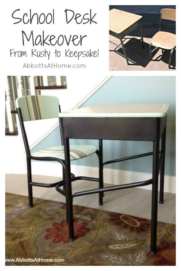 Makeover that rusty old school desk into a family treasure. #schooldesk