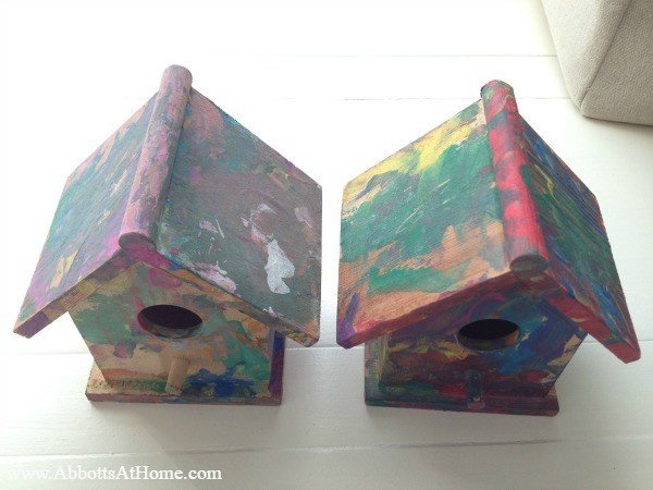 Birdhouse Art for kids. Let your little ones paint birdhouses, cars, jewelry boxes, etc. It turns their art into cute decor you can save.