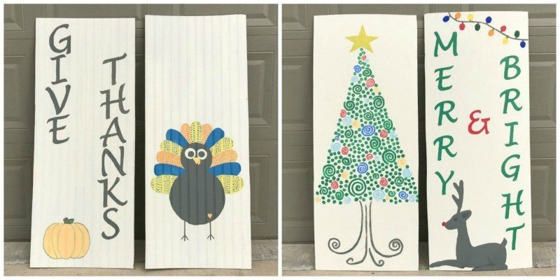 DIY Reversible Thanksgiving & Christmas Signs