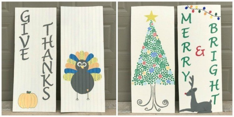 DIY Reversible Holiday Signs