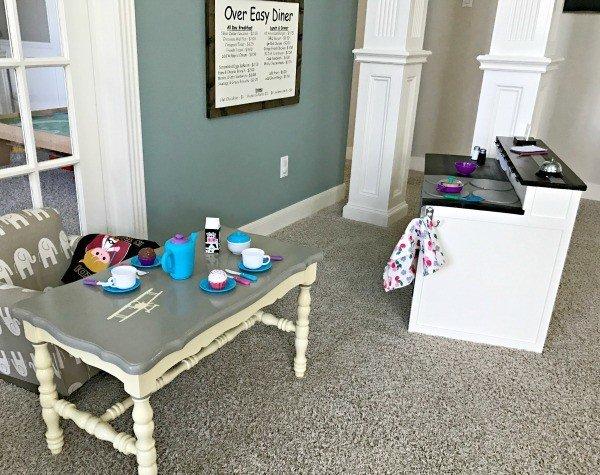 Farmhouse Style DIY Kids Kitchen Diner with menuboard