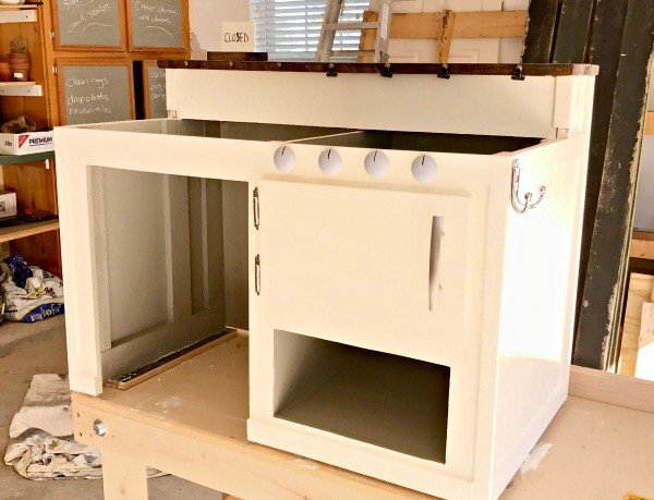 A 50 white kids play kitchen diy with farmhouse style Realistic play kitchen