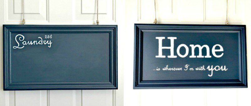DIY Chalkboard and Painted Sign from old cabinet doors
