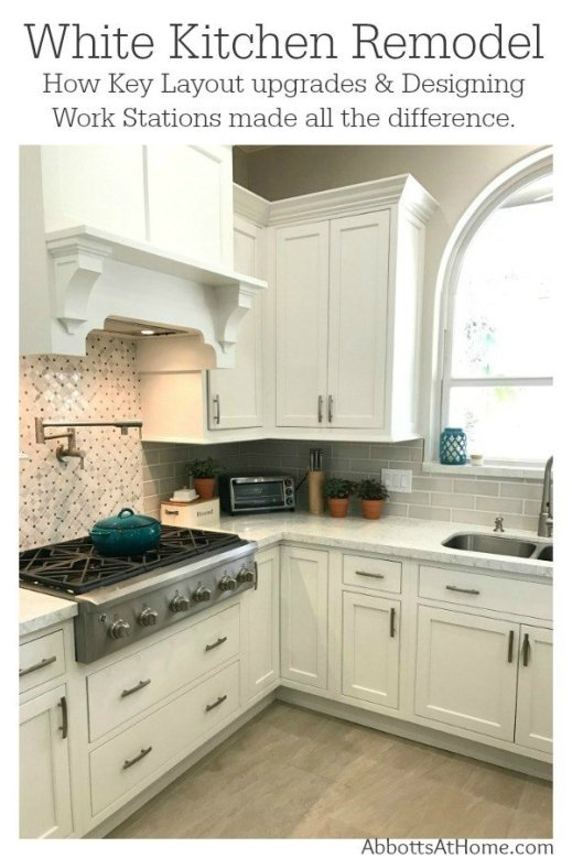 See the reveal for our white kitchen update with Starmark Kitchen Cabinets and Lusso Quartz from Silestone. With design tips for better function with work stations and our 3 regrets.