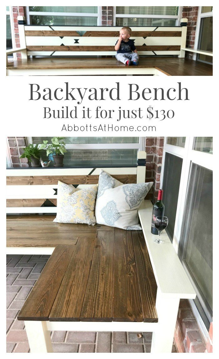 DIY Plans For An L Shaped Wood Backyard Or Outdoor Bench. #bench #