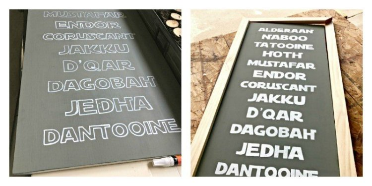 DIY Star Wars Sign - Subway-style list of planets - Free Printable and steps to make your own. Show your geeky-side without sacrificing style