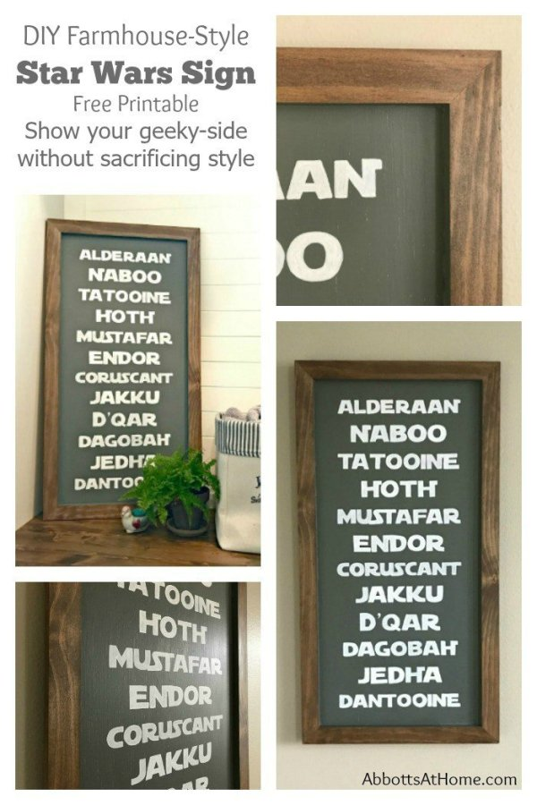 DIY Planets Star Wars Sign - Free Printable and steps to make your own. Show your geeky-side without sacrificing style