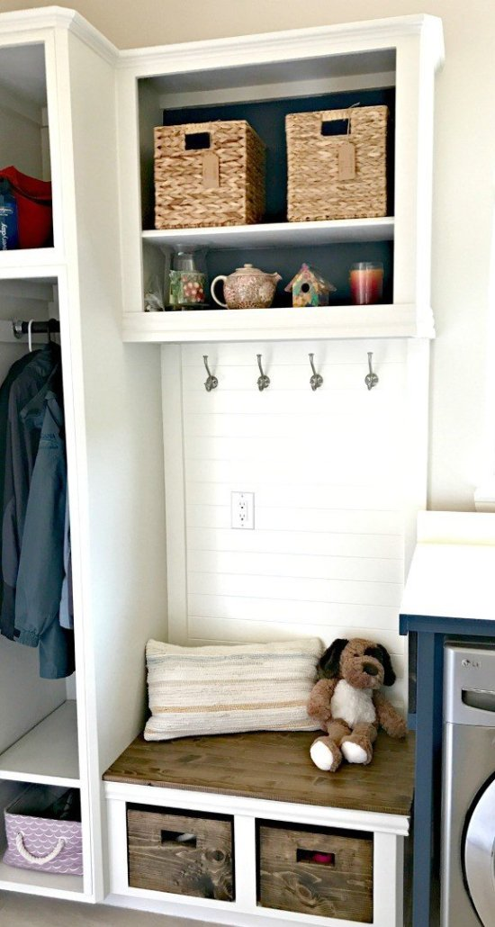 Upcycle your old cabinets into a beautiful and affordable DIY Laundry and Mudroom Combo. This cabinet update was less than $100. And the mudroom bench, coat, and shoe storage makes this space so much more functional! #mudroom #bench #laundry