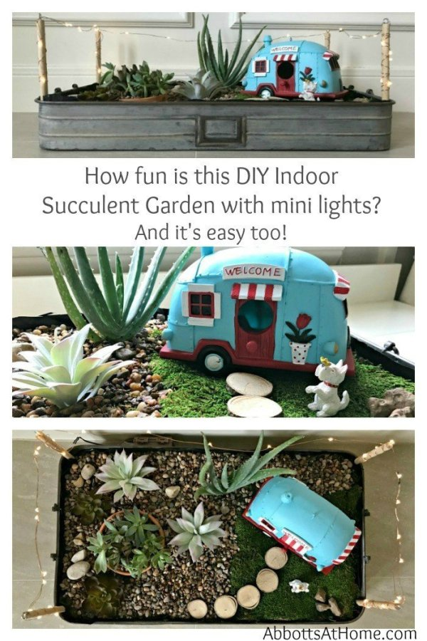 This LED Lighted DIY Indoor Succulent Garden Tray is one of the easiest DIY Succulent Garden Ideas you'll find. Fill with your favorite succulents and vintage truck or camper to give it some extra charm. You have to love Easy Indoor Succulents, especially when they're cute decor.. #vintage #camper #succulent
