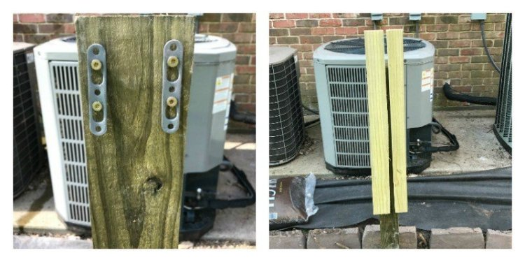 DIY Removable Outdoor Air Conditioner Screen. Hide those air conditioners, allow proper air flow for the condenser, and make the AC guy happy when he sees how easy it is to remove. You can easily have this project done in a weekend. #AbbottsAtHome #AirConditioner