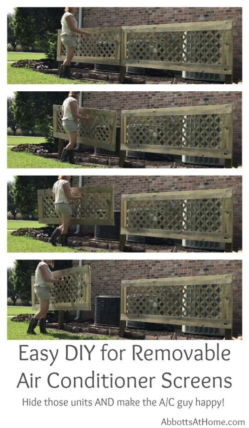 DIY this easily removable 'outdoor air conditioner screen fence thingy'. It will hide those air conditioners, allow proper air flow for the condenser, and make the AC guy happy when he sees how easy it is to remove. You can easily have this project done in a weekend. Lets get started. Here's how to hide an air conditioner unit outside...the easy way.