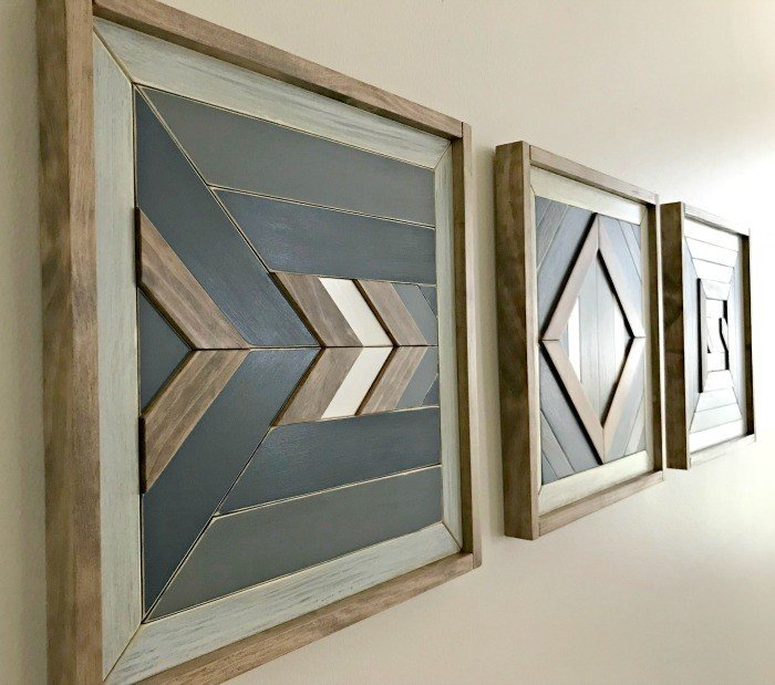 Build your own custom DIY Scrap Wood Wall Quilt Art. Works for Barn Quilt, Tribal Art, Boho, Mosaic, geometric wood designs and more. Includes DIY Wood Wall Art Tutorial steps and how-to video!