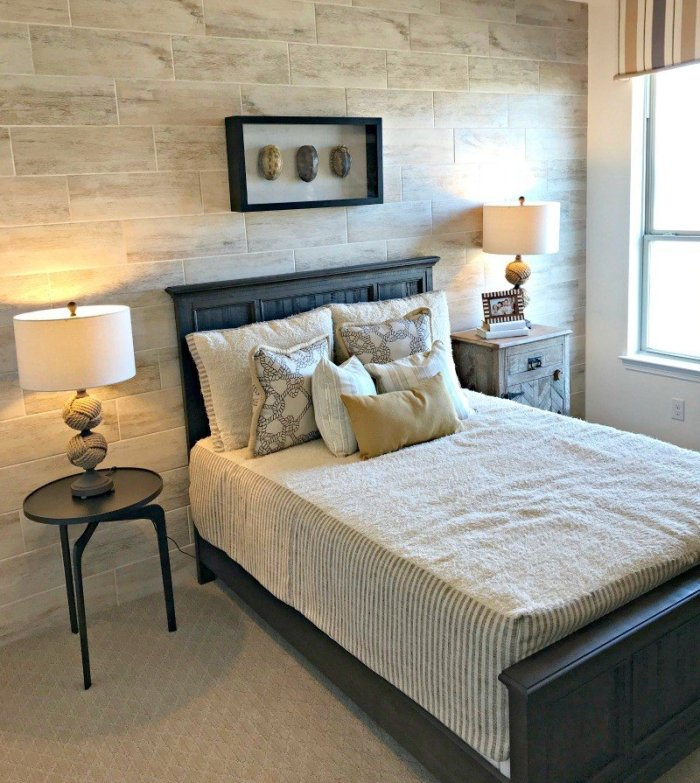 Tile Feature Wall in a Bedroom. Interior and Furniture Design Inspiration Pictures from Model Homes and Local Stores.