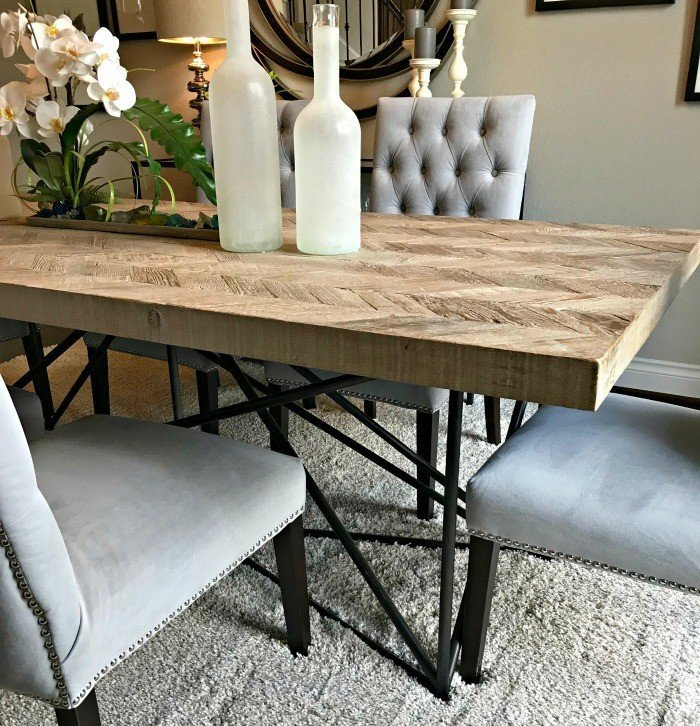 Herringbone Dining Table Design Idea. Interior and Furniture Design Inspiration Pictures from Model Homes and Local Stores.