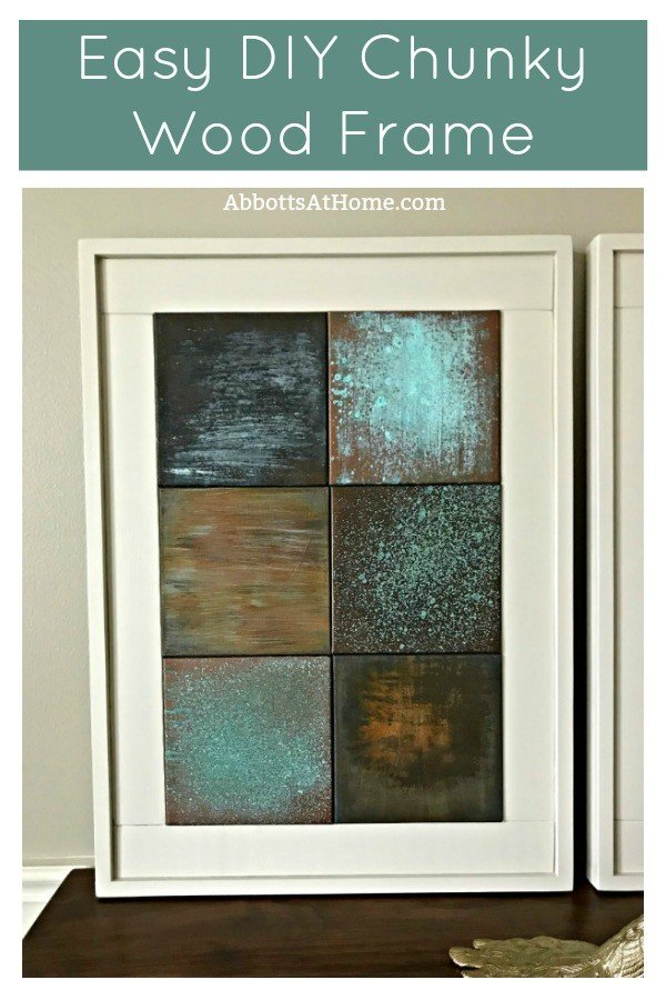 Build this easy DIY Chunky Wooden Frame for a canvas, print, poster, or anything. This idea will save you money and give you a unique, custom look and size for your wall art. #AbbottsAtHome #customframe #DIYframe #WoodFrame #Frame #WallArt