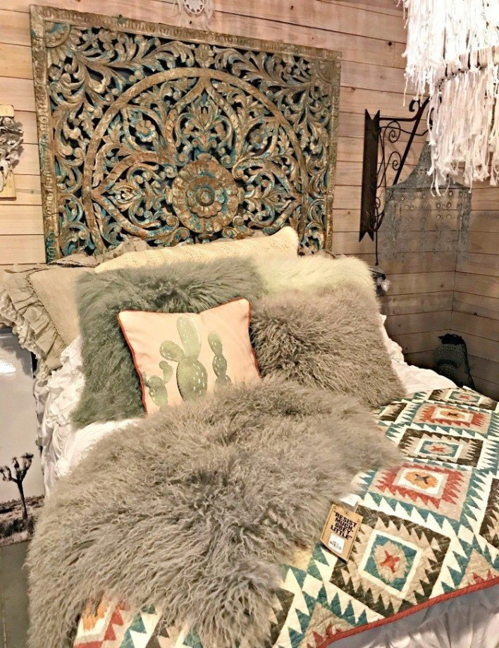 A romantic bed with faux fur and bohemian colors. A few more Round Top Shopping Trip Tips and some photos from the Junk Gypsy Headquarters. A shopping trip to Round Top and Waco would make a perfect weekend, guys! #AbbottsAtHome #RoundTopTexas #JunkGypsy #GirlsWeekend