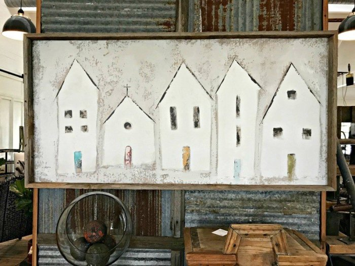 Mary Gregory Canvas Art with 5 white house. The Spring and Fall Round Top Texas Antiques and Flea Markets are great! BUT you can find Fun, Art & Furniture Shopping in Round Top, Texas year round, guys! Check out photos from the shops in town. #RoundTop #TexasTravel #AbbottsAtHome