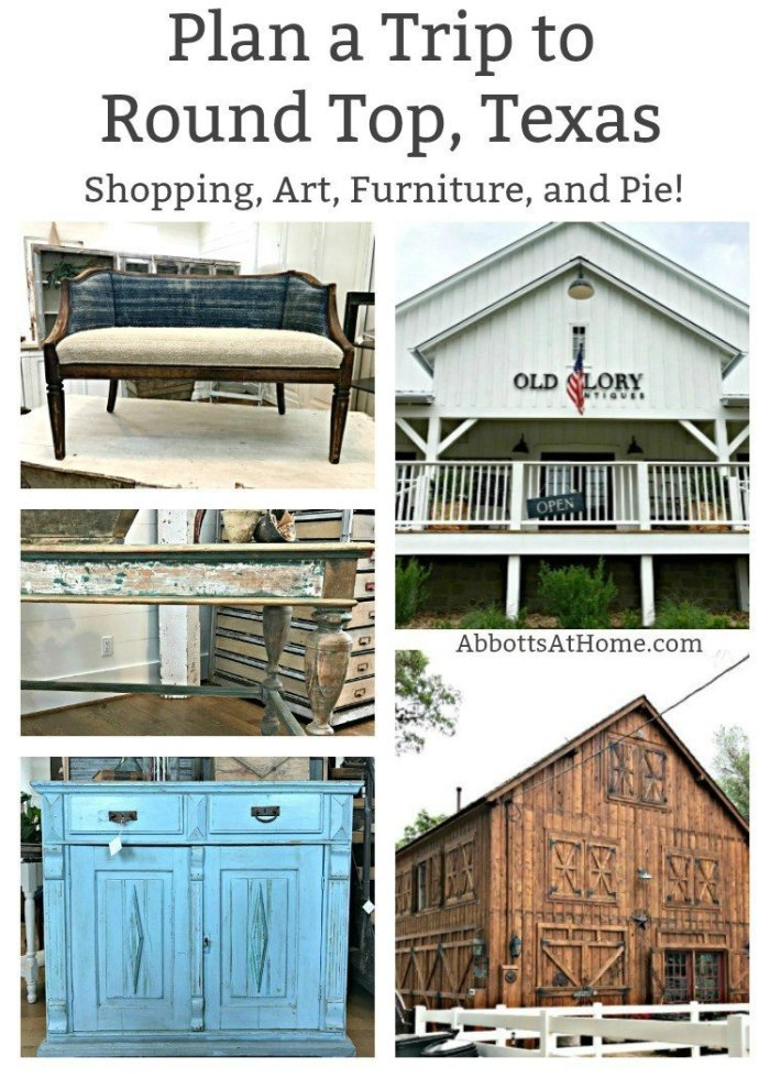 A few of the sights around Round Top, Texas shops. The Spring and Fall Round Top Texas Antiques and Flea Markets are great! BUT you can find Fun, Art & Furniture Shopping in Round Top, Texas year round, guys! Check out photos from the shops in town. #RoundTop #TexasTravel #AbbottsAtHome