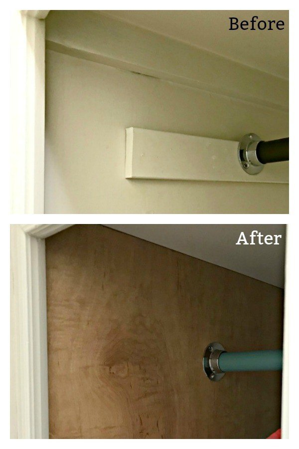 Before and after attaching a plywood liner to open cabinets. Easy DIY Open Cabinet Makeover with Plywood Panels. Hide ugly, boring, and damaged cabinets to get that trendy open cabinet look. #OpenShelves #OpenCabinets #DIYOpenCabinets #AbbottsAtHome