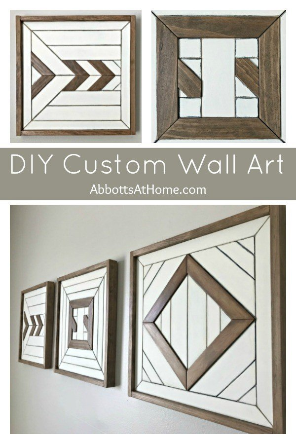 Give your Custom Scrap Wood Wall Art a Color Makeover with these easy steps. Plus, find out how I built this set of fun wall art with the scraps from recent builds. I love this wall art update, guys! #AbbottsAtHome #WallArt #ScrapWood #WoodArt