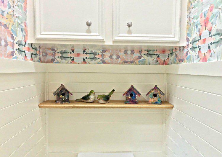 Build a Simple Bathroom Shelf without special hardware. With photos and easy to Follow DIY Steps. #AbbottsAtHome #DIYShelf #DIYIdeas
