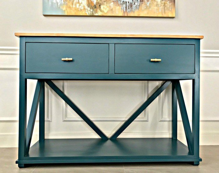 DIY Farmhouse Console Table Plan with Drawers