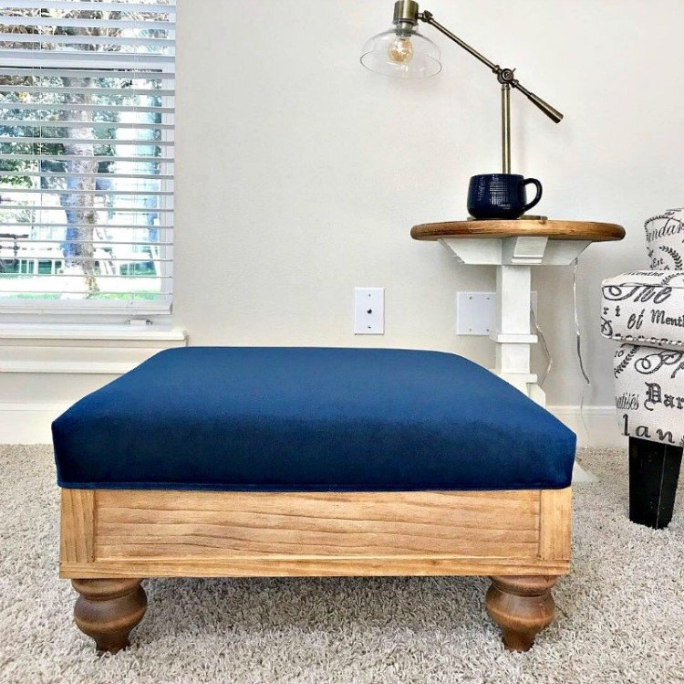 DIY Upholstered Ottoman Plans from Scratch - Abbotts At Home