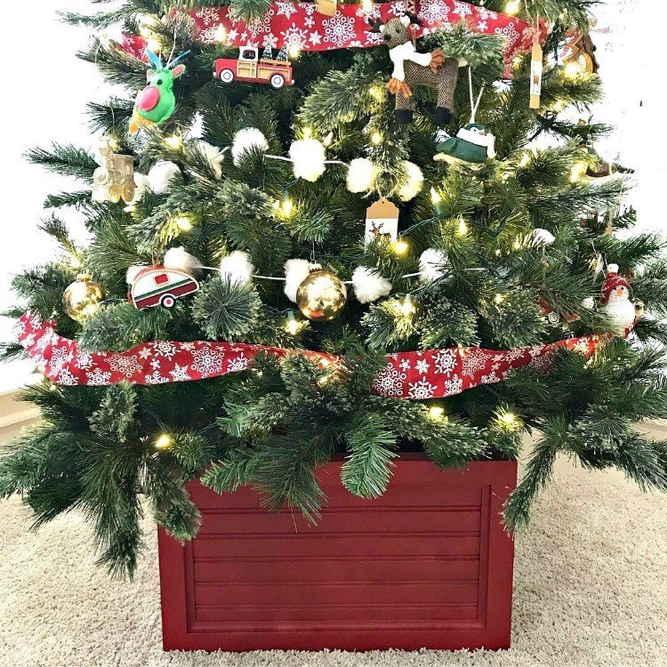 DIY Christmas Tree Box Stand and Ornament Storage