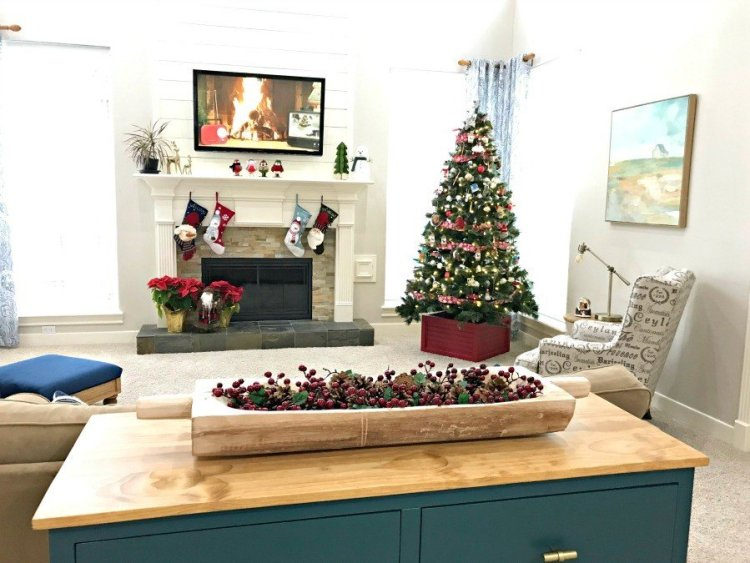 Tour our cozy Modern Farmhouse, Traditional Living Room with this look at our fun & colorful Living Room Christmas Decorations, this year. Full of pops of Red, Blue, and Green! #AbbottsAtHome #ChristmasIdeas #ChristmasDecorations #ChristmasDecor #ChristmasLivingRoom