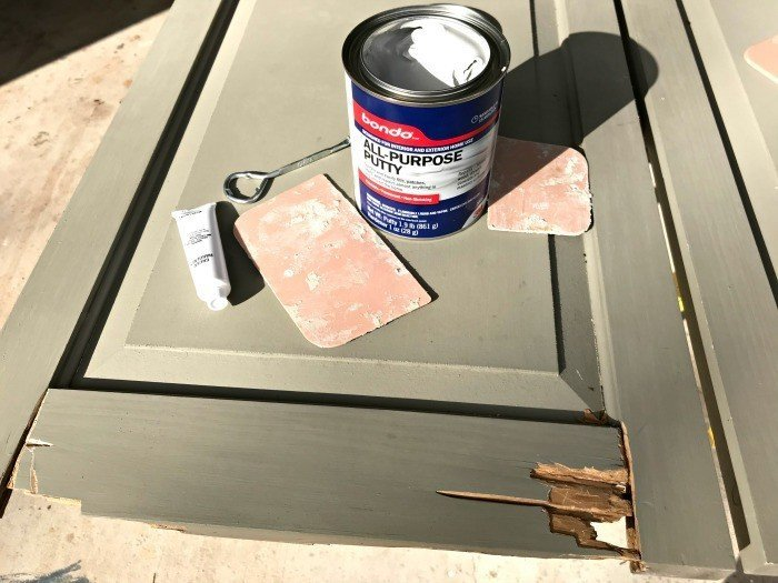 The rotten wood on our exterior shutters has been removed. Now, I'm ready to apply the Bondo. #AbbottsAtHome #Bondo #DIYProjects