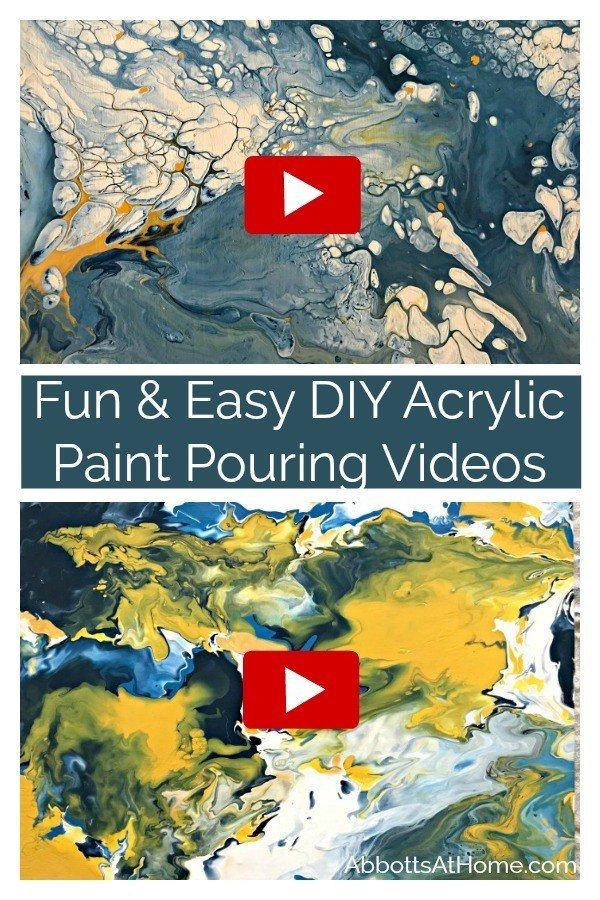 This Fun & Easy DIY Acrylic Pour Tutorial is a great way to make unique and low cost wall art. I love Cheap & Easy DIY Wall Art! #AbbottsAtHome #AcrylicPaint #DIYHomeDecor #AcrylicPouring